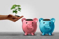 Choosing A Financial Bank. And banking options or investing choice dilemma concept as a human hand holding a sapling deciding where to invest with 3D Royalty Free Stock Photography