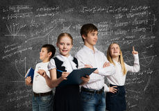 Choosing future profession. Children of school age trying different professions Stock Photos