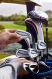 Choosing golf club Royalty Free Stock Photography