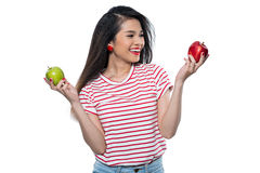 Choosing between green and red apple Stock Image
