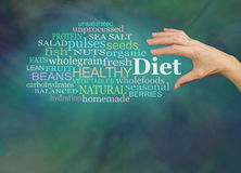 Choosing a healthier diet. Female hand reaching to grab the word DIET, surrounded by a diet word cloud on a green background with plenty of copy space below Royalty Free Stock Photography