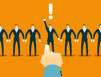 Choosing among the many employees. Recruitment. Vector illustration Royalty Free Stock Photo