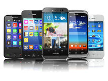 Choosing of mobile phone.  Different modern smartphones with tou Stock Photography