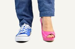 Choosing my footwear royalty free stock photo