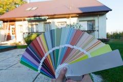 Choosing a new color of the facade. Stock Photo