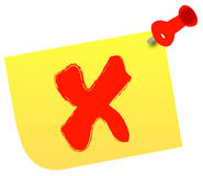 Choosing no. No or x on thumb tacked note - vector Stock Photos