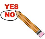 Choosing no. Pencil choosing no and circling it - vector stock illustration