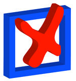 Choosing no. 3D box with red x or no as choice - vector Stock Photo