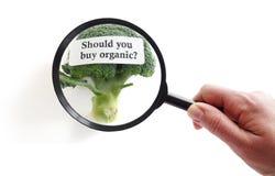 Choosing organic food Stock Photo