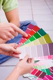 Choosing paint color stock images
