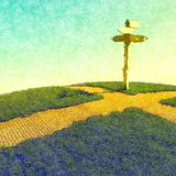 Choosing a path at crossroad. Crossroads as a pivotal decision time in someones life choosing the direction of their future stock illustration