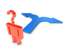 Choosing a path. 3D render of a stick figure confused about choosing a path Stock Images