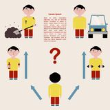 The concept of choosing a person`s life path. Infographics. Vector illustration. stock illustration