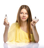 Choosing perfume Royalty Free Stock Photo