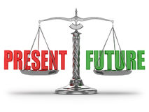 Choosing present or future. Scales Stock Images