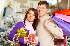 Choosing presents Royalty Free Stock Photo