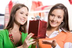 Choosing presents Royalty Free Stock Photos