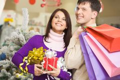 Choosing presents Royalty Free Stock Image
