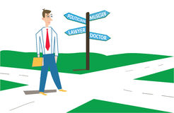 Choosing right career. Confused young man thinking in which direction he should move while looking at the sign post presenting variety of careers Royalty Free Stock Photography