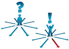 Choosing the right direction. Illustration of a person choosing from many possible directions Stock Images