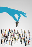 Choosing the right person on a group of business people. Hiring selection vector illustration
