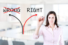 Choosing the Right way instead of the Wrong one. Office background. Stock Photo