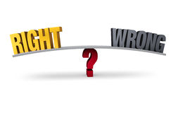 Choosing Between Right or Wrong. Bright, gold RIGHT and dull gray WRONG sit on opposite ends of a gray board which is balanced on a red question mark.  on white Stock Photo