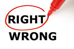 Right or Wrong with Red Marker. Choosing Right instead of Wrong. Right selected with red marker Royalty Free Stock Image