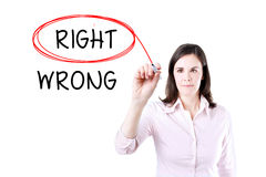 Choosing Right instead of Wrong. Right selected with red marker. Royalty Free Stock Images
