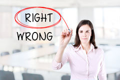 Choosing Right instead of Wrong. Right selected with red marker. Office background. Stock Images