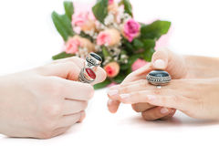 Choosing a ring Stock Photo