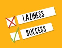 Choosing between starting laziness or success. Motivational design. Fight against procrastination. Choose success. Checkboxes design concept Stock Image