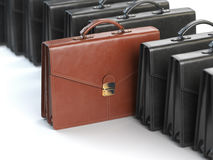 Choosing stock market portfolio or briefcase concept. One unique. Brown briefcase in the row of black briefcases. 3d illustration Stock Image