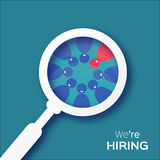 Choosing the talented person for hiring. HR job seeking concepts.The choice of the best suited employee. vector illustration on blue background Stock Photos
