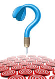 Choosing A Target. With a blue dart in the shape of a question mark aiming at confusing group of multiple red and white targets as a symbol of business dilemma Royalty Free Stock Photos