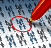 Choosing A Team. Concept with a red pencil highlighting a drawing of a group of business people as a teamwork symbol of selecting the best social network for Stock Image