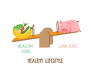 Choosing between vegetable, fruit and meat, healthy lifestyle.  Stock Photo