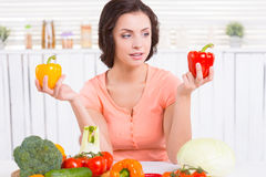 Choosing vegies to cook. Stock Photography