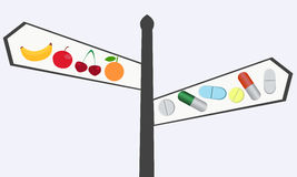 Choosing between vitamins. The choice between natural and synthetic vitamins. Pointer of pills and fruit Royalty Free Stock Photography