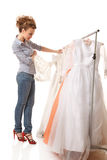 Choosing wedding dress Royalty Free Stock Photography