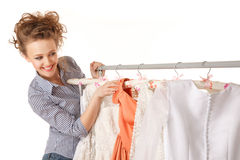 Choosing wedding dress Royalty Free Stock Image