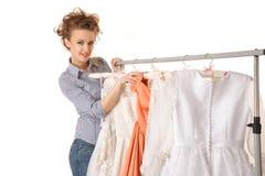 Choosing wedding dress Stock Photo