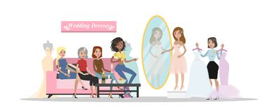 Choosing wedding dress. Choosing wedding dress in the store with friends vector illustration