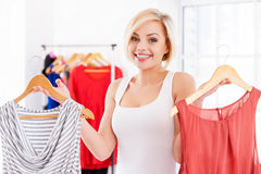 Choosing what to wear. Royalty Free Stock Photos