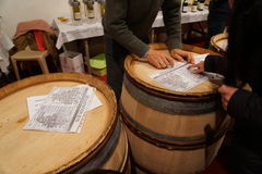 Choosing wine at Les Trois Glorieuses de Bourgogne Three Glorious Daysin Beaune. Beaune, France-November 19, 2016:this is the most famous of Burgundy's stock image