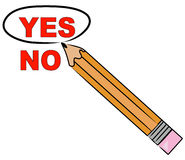 Choosing yes. Pencil choosing yes and circling it - vector Stock Images