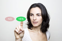 Choosing YES stock images