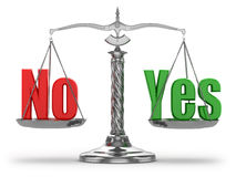 Choosing  yes or no. Scales. On white isolated background. 3d Royalty Free Stock Photo