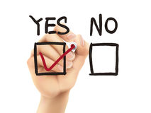 Choosing yes on survey by 3d hand Royalty Free Stock Image