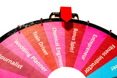 Choosing your career. Spinning wheel isolated on white with different professions Royalty Free Stock Photos